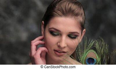 pauw, meisje, makeup, gekleurde, veer