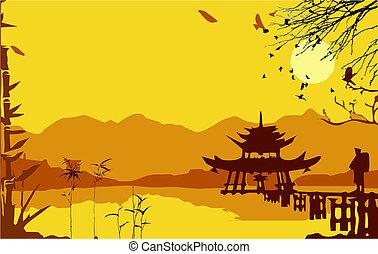 paviljoen, japanner, poorten, samurai