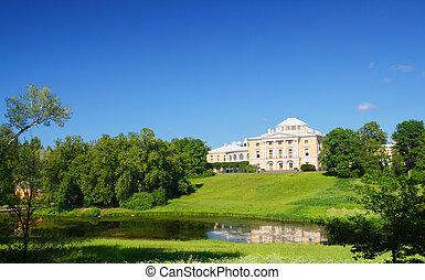 pavlovsk, park, heuvel, paleis