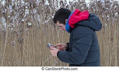 pc, buiten, tiener, tablet
