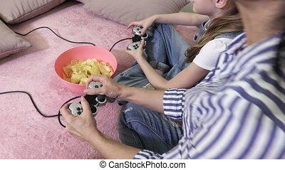 pc, ontspannen, spel, familie huis