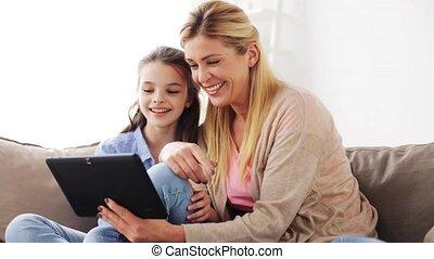 pc, vrolijke , tablet, familie huis