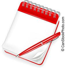 pen, aantekenboekje, spiraal