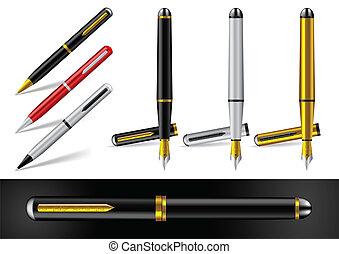 pen, bal, fontijn, punt