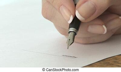 pen, fontijn, handtekening
