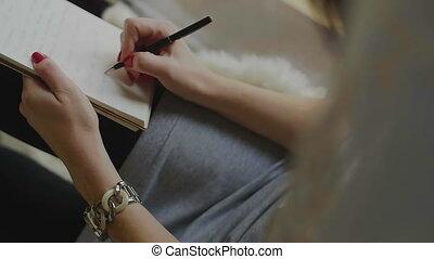 pen, notepad, vrouwlijk, schrijvende