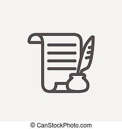 pen, papier, dune lijn, veer, boekrol, pictogram