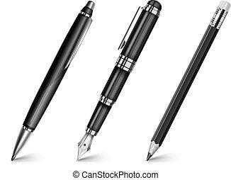 pen, pen, fontijn, potlood