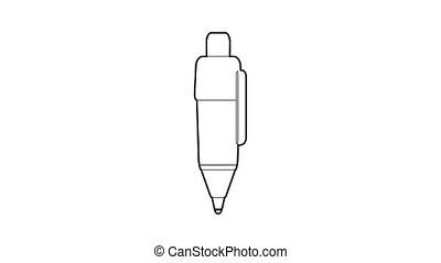pen, pictogram, teken, animatie