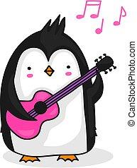 penguin, spelende guitar
