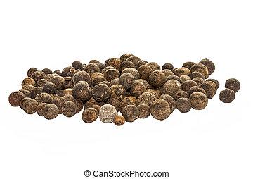 peper, kruiden, koren, vrijstaand, scented, erwtjes, zwarte achtergrond, aanzicht, witte , geheel, bovenkant