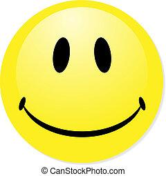 perfect, badge., smiley, gele, knoop, vector, pictogram, mengen, shadow., emoticon.