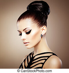 perfect, makeup., sensueel, hairstyle., mooi, mode, elegant, foto, verticaal, vrouw