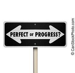 perfect, vooruit, het richten van pijl, tekens & borden, voortgang, of, straat