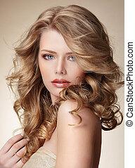 perfect, vrouw, gezonde , huid, verfijnd, haar, blonde , vloeiend