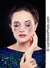perfect, vrouw oog, schitteren, makeup, artistiek, schaduw