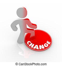 persoon, knoop, op, het schrijden, veranderen