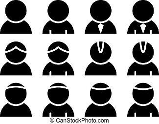 persoon, vector, black , iconen