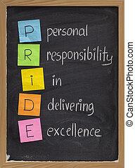 persoonlijk, verantwoordelijkheidsgevoel, voortreffelijkheid, bezorgen