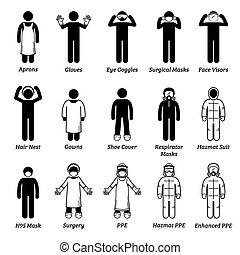 persoonlijke gezondheidszorg, medisch, cliparts., uitrusting, ppe, bescherming, toestellen