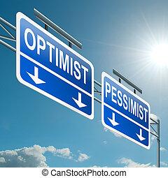 pessimist, optimist, concept., of