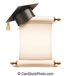 pet, diploma, afgestudeerd, boekrol