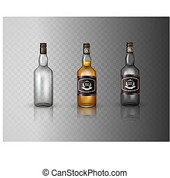 pet, fles, vrijstaand, brandewijn, schroef, achtergrond., glas, witte