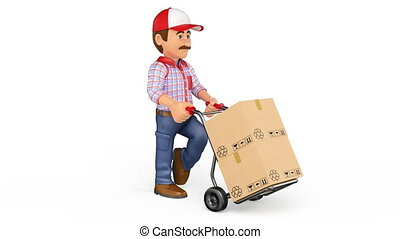 photo-jpg, beeldmateriaal, voortvarend, hand, aflevering, dozen, animatie, vrachtwagen, achtergrond, witte , man, 3d