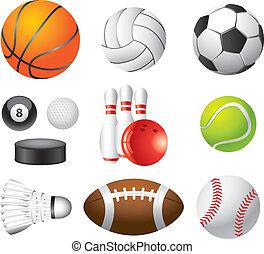 photo-realistic, set, sportende, vector, gelul