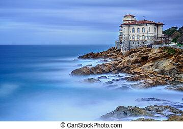 photography., boccale, italy., tuscany, lang, sea., rots, oriëntatiepunt, kasteel, klip, blootstelling