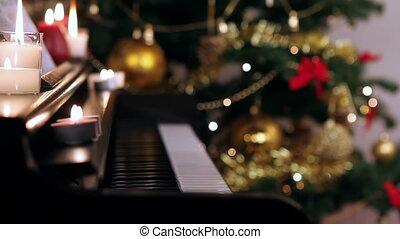 piano, kerstmis, toetsenbord