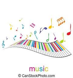 piano, muziek, sleutels, poster, opmerkingen
