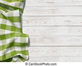 picknick, bovenzijde, doek, groene achtergrond, tafel, gras, aanzicht