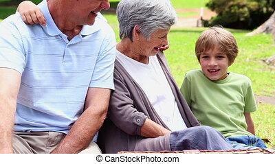 picknick, hebben, grootouders, kleinkinderen