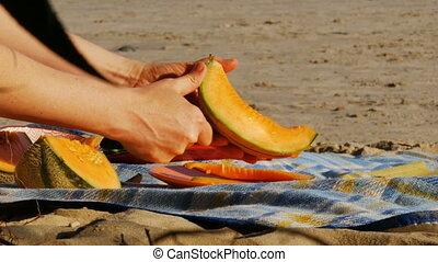 picknick, -, holle weg, 4k, meloen, rivier, strand
