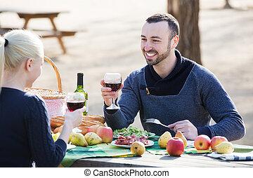 picknick, paar, platteland, hebben