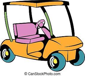 pictogram, auto, golf, spotprent, pictogram