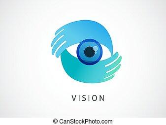 pictogram, concept, logo, handen, abstract ontwerp, oog