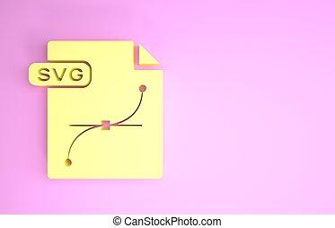 pictogram, document., symbool., render, svg, vrijstaand, minimalism, bestand, downloaden, gele, knoop, illustratie, concept., achtergrond., roze, 3d