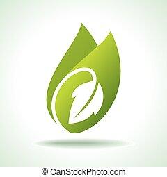 pictogram, fris, groen blad
