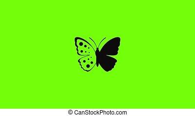 pictogram, lente, animatie, vlinder