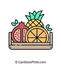 pictogram, -, lijn, houten doos, moderne, vruchten