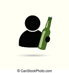 pictogram, man, fles, illustratie, hand