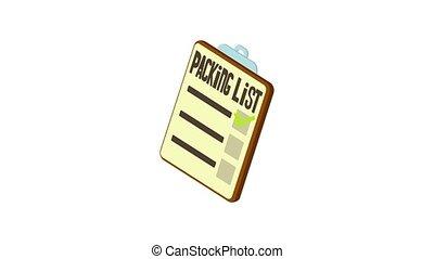 pictogram, pakking, lijst, animatie