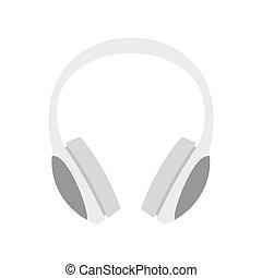 pictogram, plat, stijl, headphones, dj