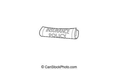 pictogram, polis, verzekering, animatie