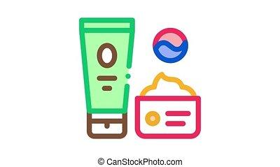 pictogram, schoonheidsmiddelen, verpakken, animatie