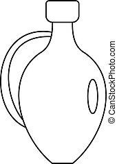 pictogram, stijl, schets, kruik, wijntje