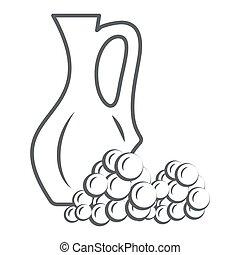 pictogram, vector, kruik, meldingsbord, ouderwetse , druiven, graphics., stijl, concept, web, straatfeest, wijntje, witte , schets, design., lijn, pictogram, pot, concept, mager, beweeglijk, achtergrond