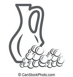 pictogram, vector, kruik, meldingsbord, ouderwetse , druiven, graphics., stijl, concept, web, straatfeest, wijntje, witte , schets, design., lijn, pictogram, pot, concept, beweeglijk, achtergrond
